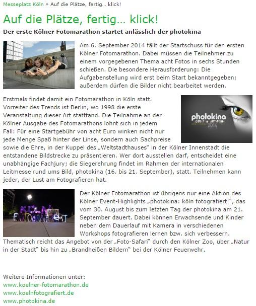 blog.koelnmesse.de über Kölner Fotomarathon